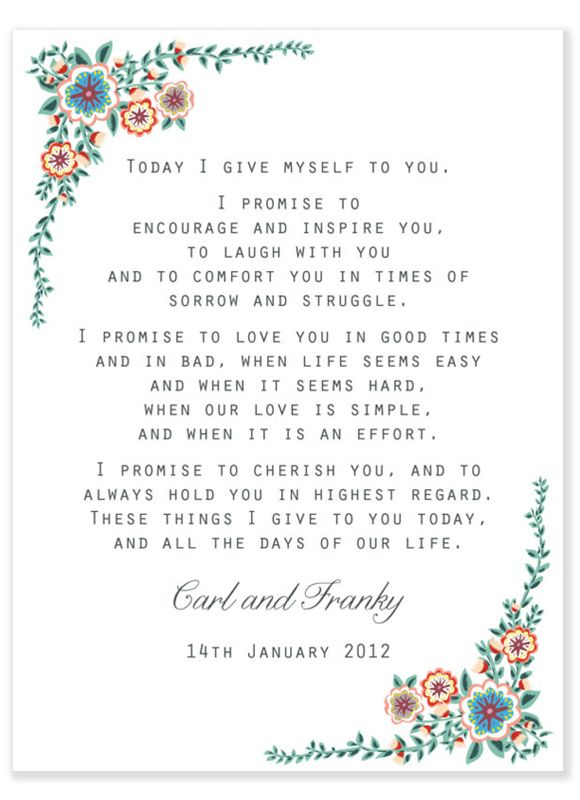 One Year On A Beginners Guide To Marriage 25th Wedding Vow