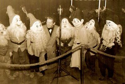 Vintage Disney Collectibles - photo of costumed dwarfs who were present at Snow White & the 7 Dwarfs film's premiere at the Carthay Circle Theatre in Hollywood on Dec. 21, 1937