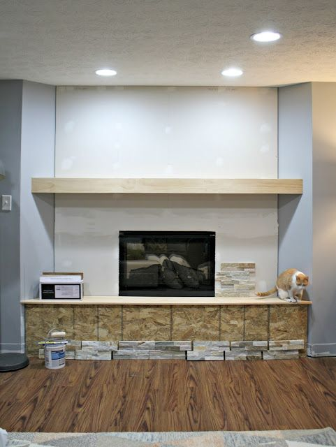 how to install stacked stone tile on a fireplace wall fun diy rh pinterest com how to install fireplace flue how to install fireplace damper clamp
