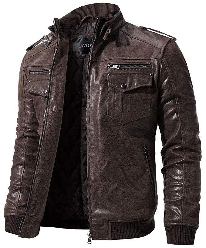 37d66d2e3a0  FLAVOR Men Biker Retro Brown Leather Motorcycle Jacket Genuine Leather  Jacket
