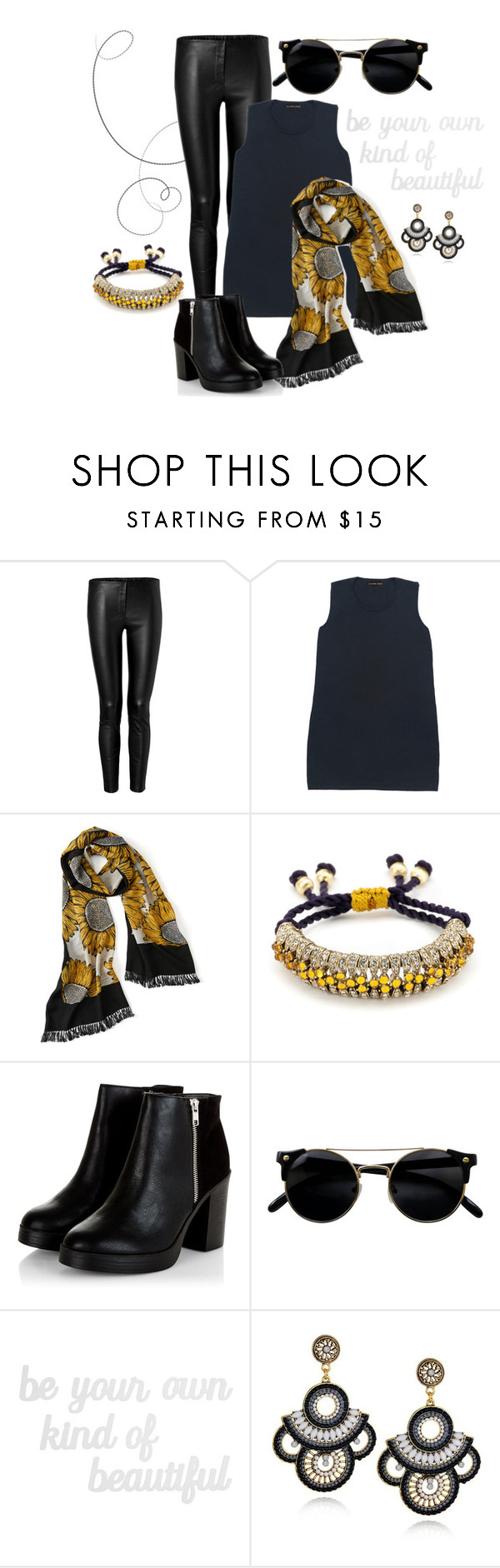 """Sunflower Scarf"" by slaterzorn ❤ liked on Polyvore featuring Tamara Mellon, Slater Zorn and PBteen"