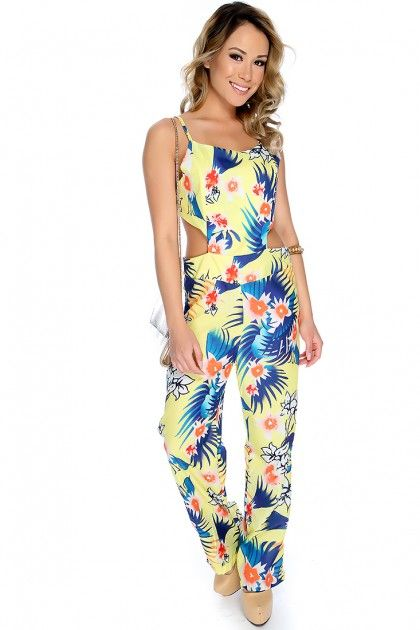 Yellow Sleeveless Cut Outs Floral Print Jumpsuit