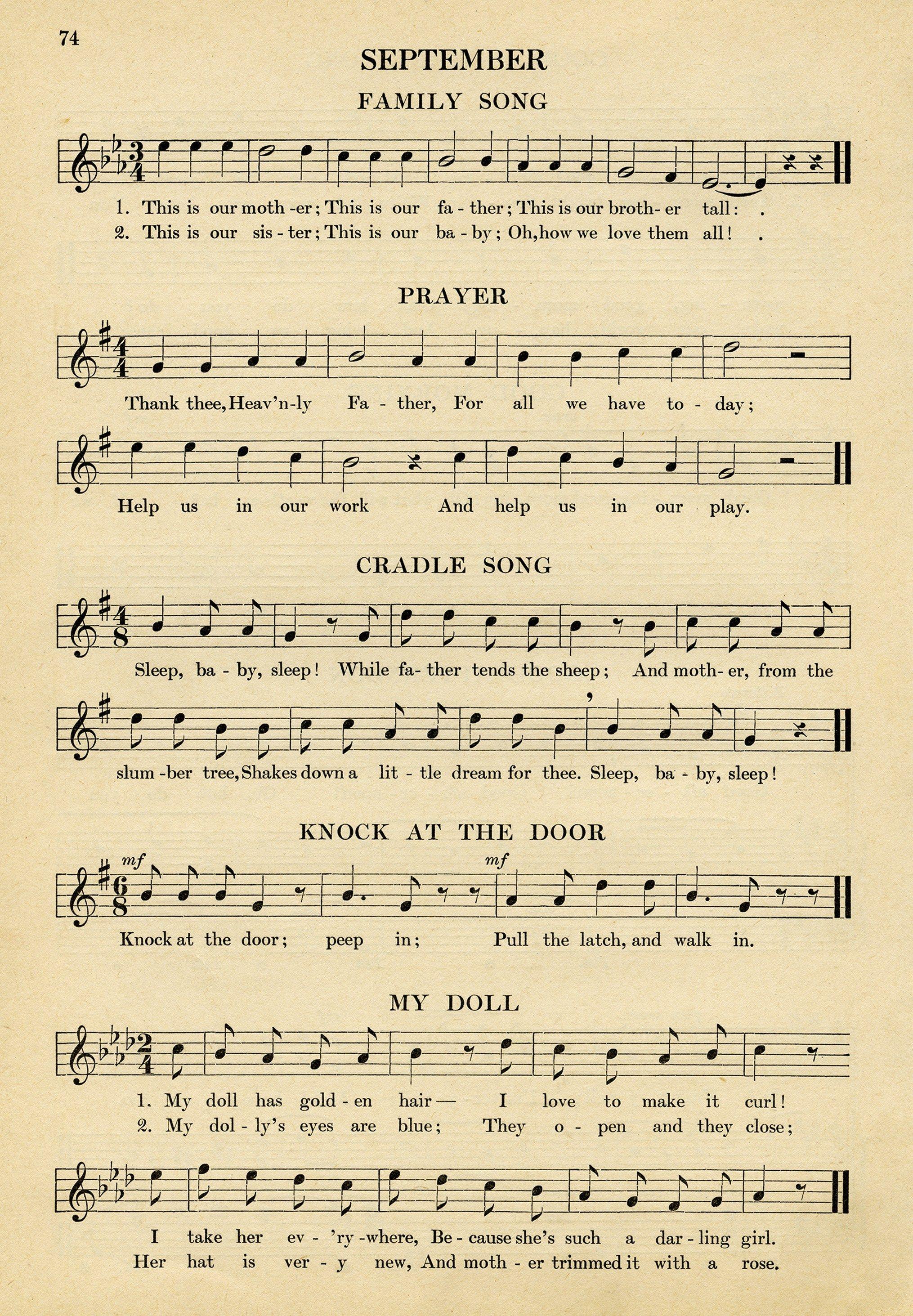 vintage sheet music, songs for September, kindergarten music, simple ...