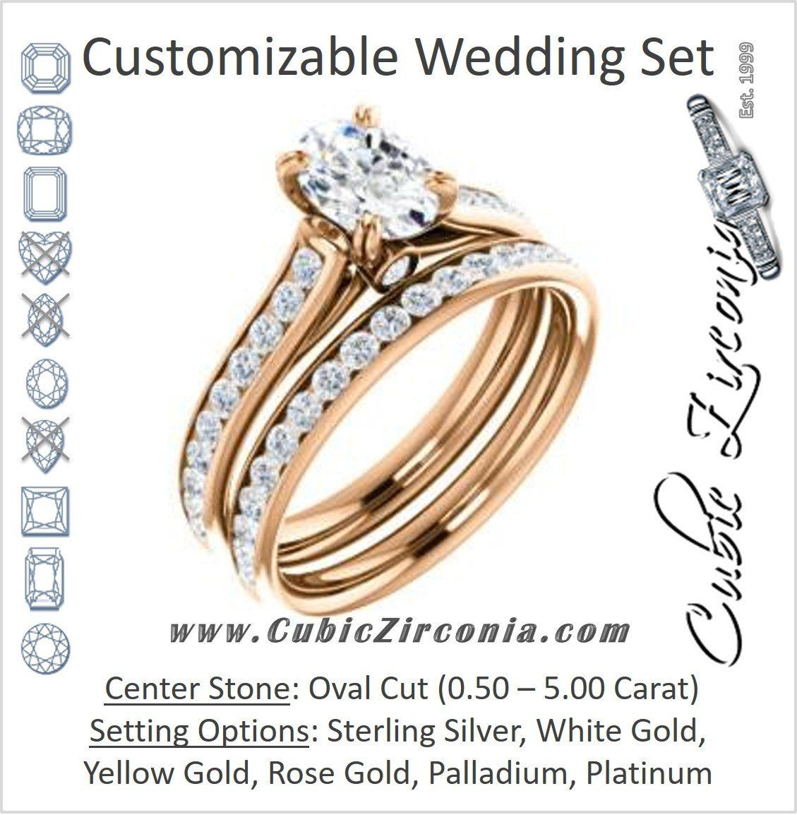Cz Wedding Set Featuring The Tabitha Engagement Ring Customizable Oval Center With Round Channel