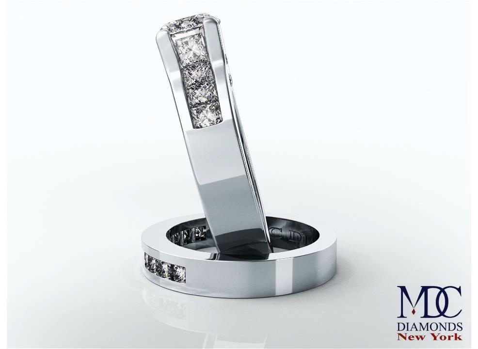 Modern Bridal Set Diamond Engagement Ring & Matchi