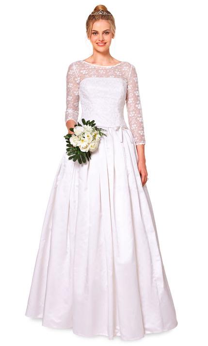 Brautkleid mit Spitzenausschnitt und -ärmeln zum Selbernähen ...