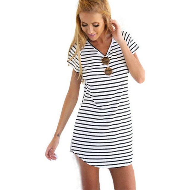 Black And White Striped Mini T Shirt Dress Products Pinterest