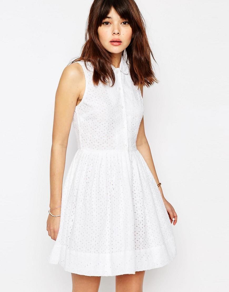 ASOS   ASOS Mini Broderie Shirt Dress at ASOS