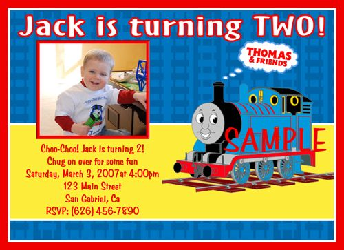 Custom Photo Birthday Invitations Thomas the Train Tank Engine Toy
