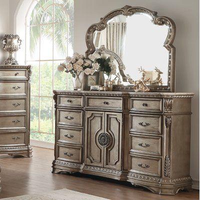 Rosdorf Park Leanos 9 Drawer Combo Dresser With Mirror In 2020 Dresser With Mirror Dresser Marble Top Dresser