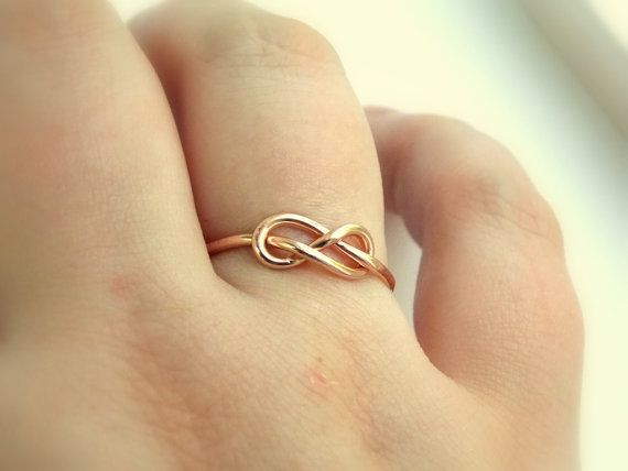 SOLID GOLD knot ring Gift Friendship ring Bridesmaid ring 14k GOLD ring Wedding jewelry Rose knot ring 1.3mm Knot ring
