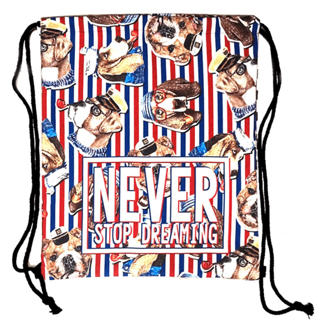 """Bulldog Beagle Puppy Dogs in Sailor Hats Print """"Never Stop Dreaming"""" Drawstring Cinch Backpack Bag for Women"""