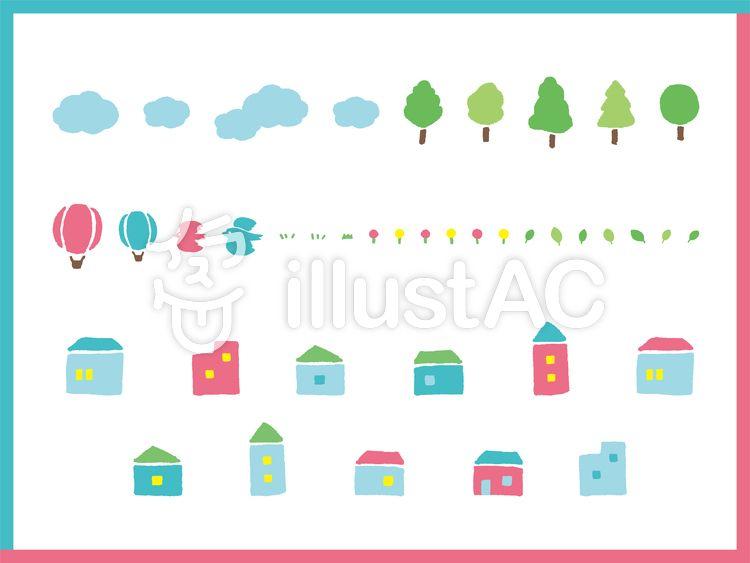 家 木 花 雲 気球 鳥 夏のセットイラスト フリー素材 気球 和柄