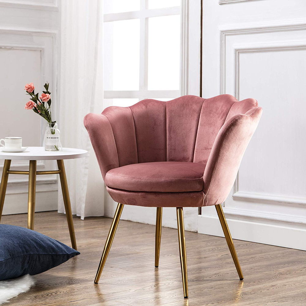 Amazon Com Comfy Upholstered Lotus Vanity Chair Velvet Accent Armchair Single Sofa Gold Plating For Li Gold Sofa Pink Living Room Furniture Single Sofa Chair