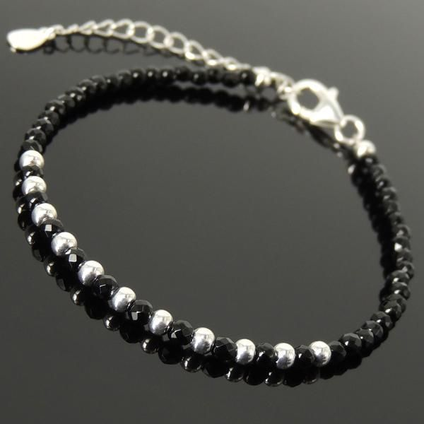 Men/'s Bracelet Black Pearl /& Onyx Gemstone Stainless Steel Rings Custom Length