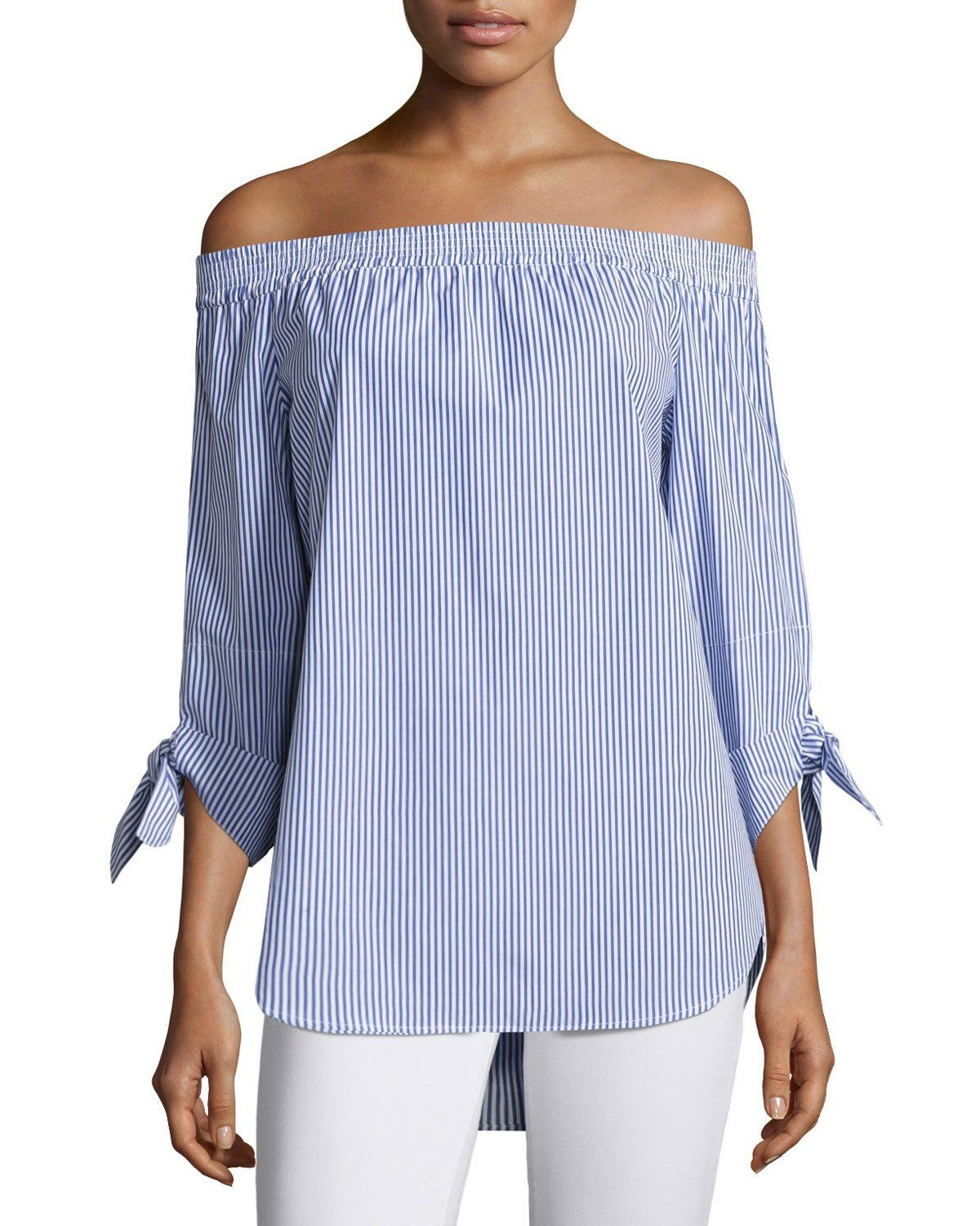 ae51c688b9d2bb Finley Jill Madison Striped Off-the-Shoulder Tie-Sleeve Blouse | Neiman  Marcus