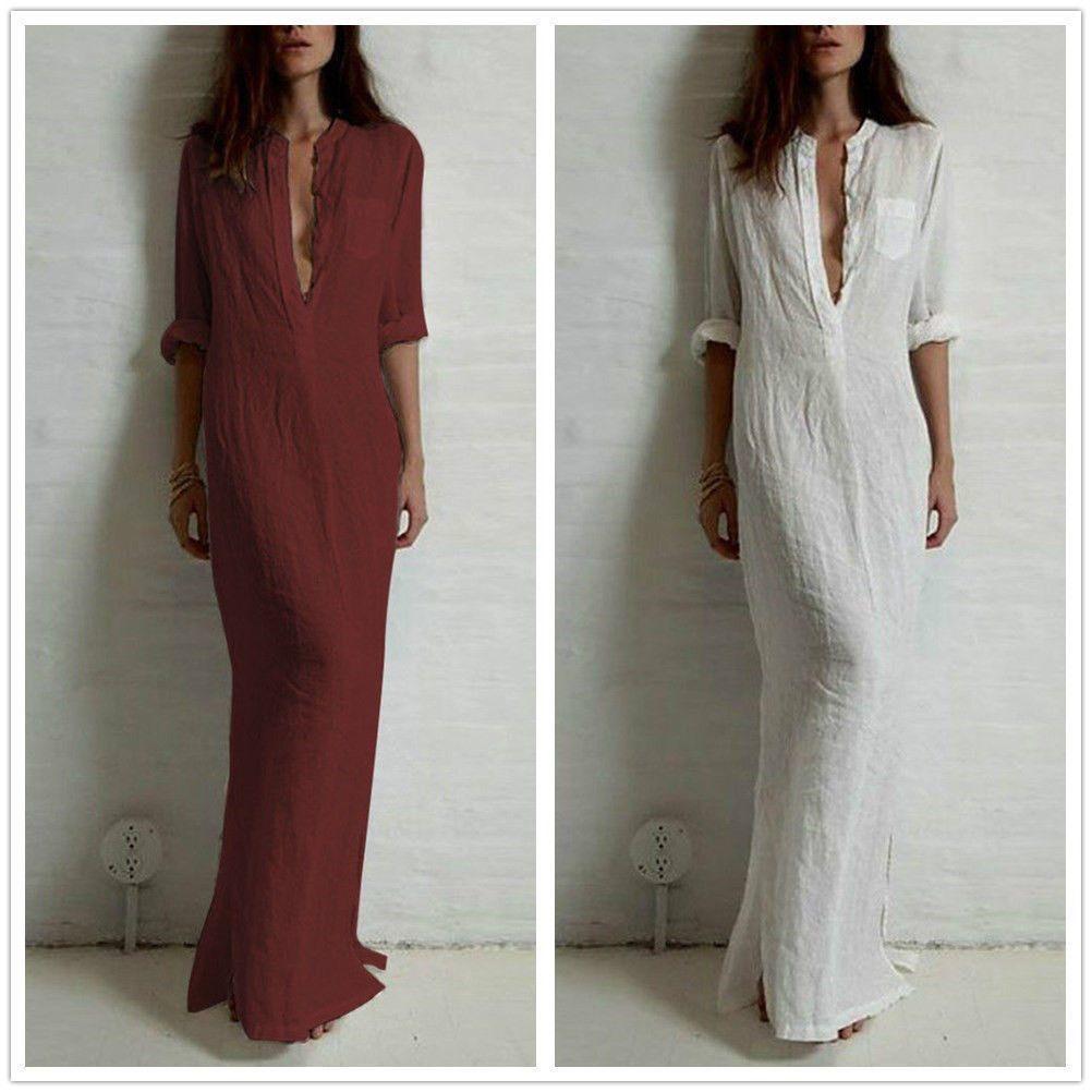 long vneck cotton linen dress loose women flax skirt ethnic