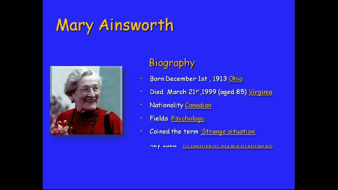 bowlby and ainsworth Theoretical foundations for bereavement counselling grief is the price we pay for love  with psychologist mary ainsworth bowlby recognized that in order to.