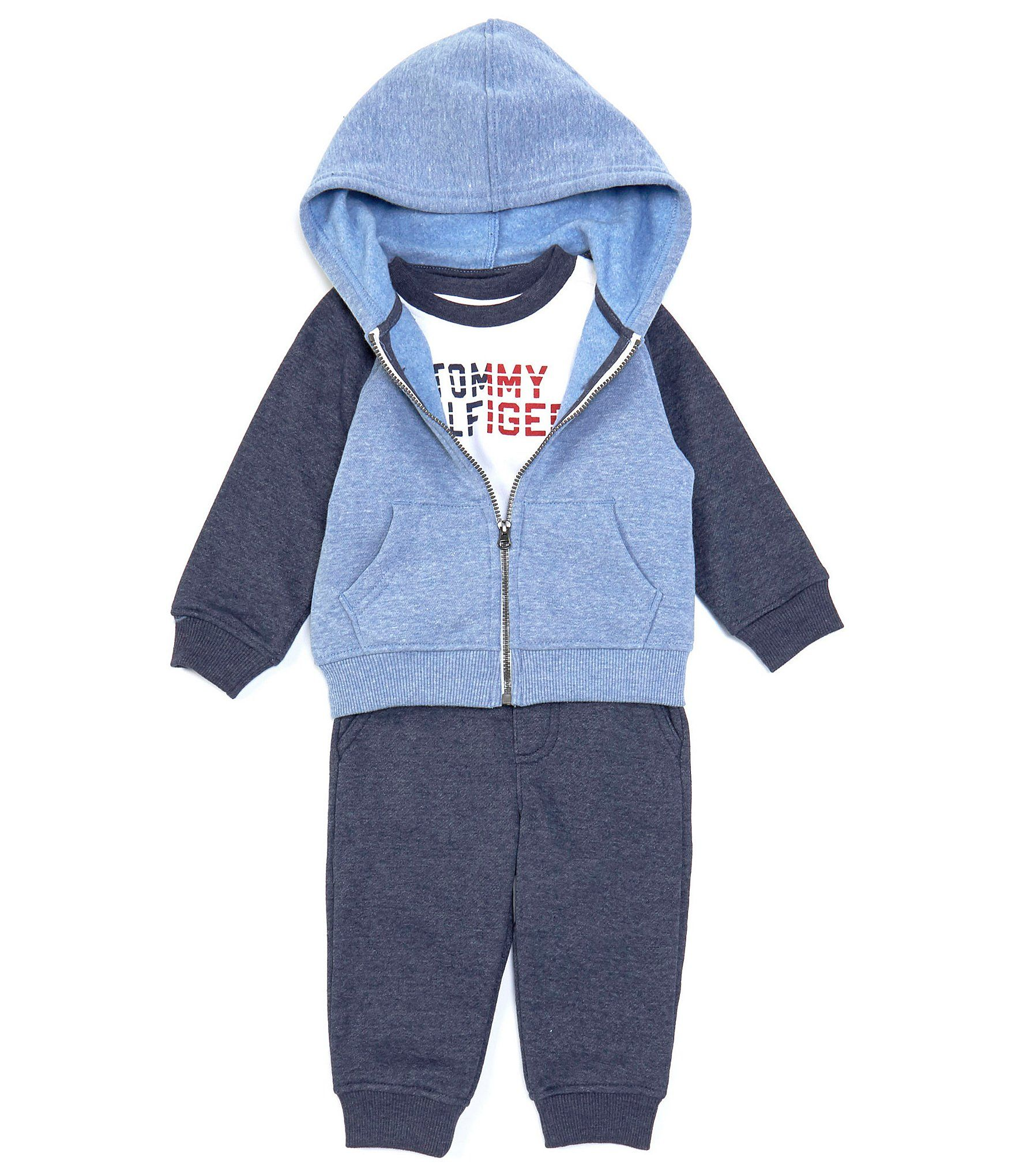 Tommy Hilfiger Baby Boys 3-24 Months Colorblock Hoodie Long-Sleeve Logo Tee  Jogger Set -  3/6 Months