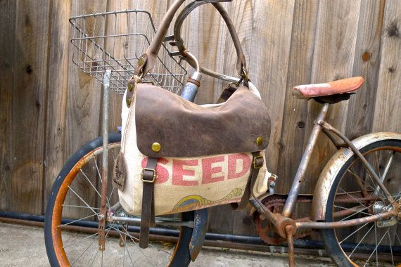 United Seeds - Vintage Seed Sack Leather Satchel Bag - Americana Leather Canvas & Leather Bag... Selina Vaughan