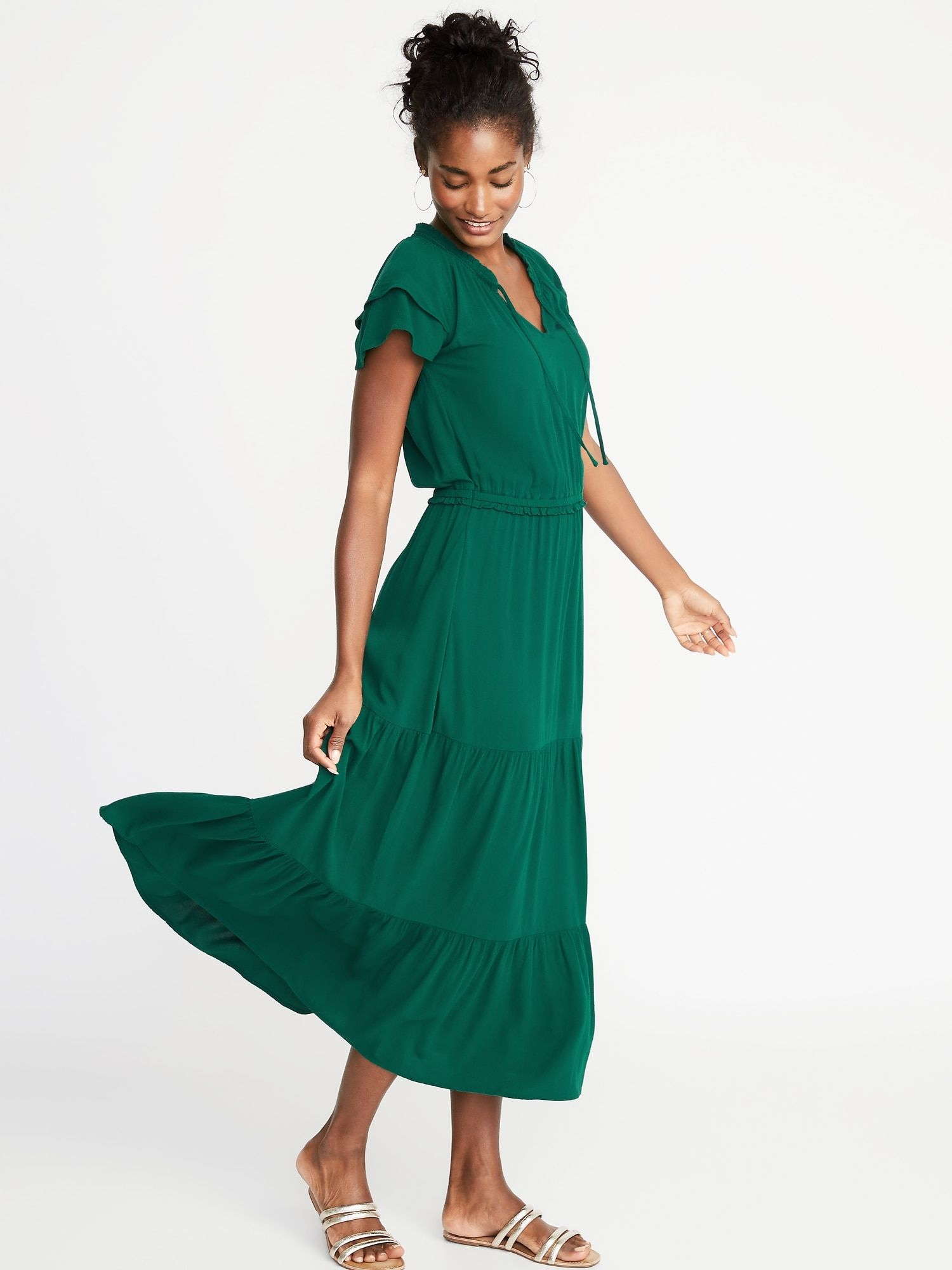 79d4c5984b Waist-Defined Ruffle-Sleeve Crepe Maxi for Women in 2019 | Spring ...