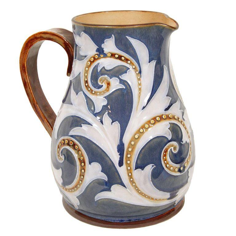England. Doulton Lambeth salt-glazed stoneware jug. late19th century. h9