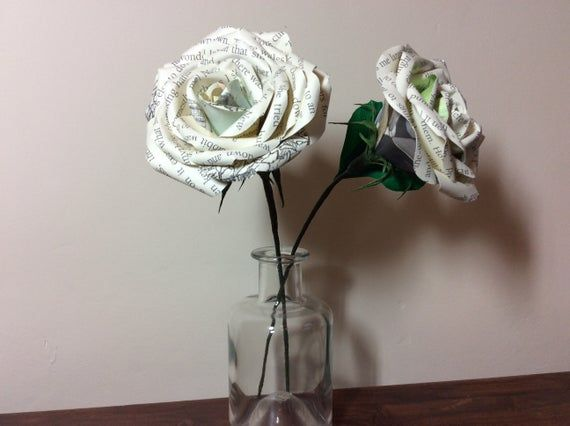 Alice in Wonderland Book Page Flower - Paper Rose with crepe paper leaves- themed decoration for wed #crepepaperroses