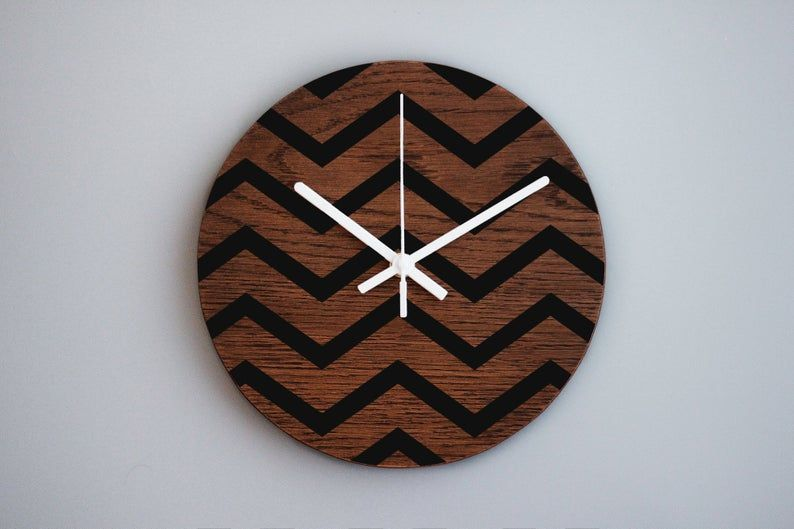 Wooden Wall Clock Zig Zag Pattern 10 Inch Wall Clock Modern Clock Office Decor Non Ticking Clock Wood Wall Decor Geometric Art In 2020 Clock Wooden Walls Modern Clock