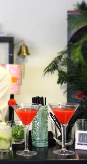Strawberry Daiquiri ~ 1/2 cup white sugar, 4 ounces frozen strawberries, 1/8 cup lime juice, 1/2 cup lemon juice, 3/4 cup rum 1/4 cup lemon-lime flavored carbonated beverage, Put it in a blender: combine ice, sugar and strawberries & fill in a chilled cocktail glass and serve & smile!
