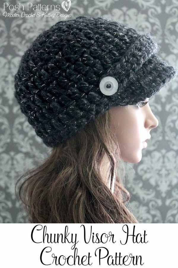 Crochet PATTERN - Modern Crochet Newsboy Hat Pattern | Sombreros de ...