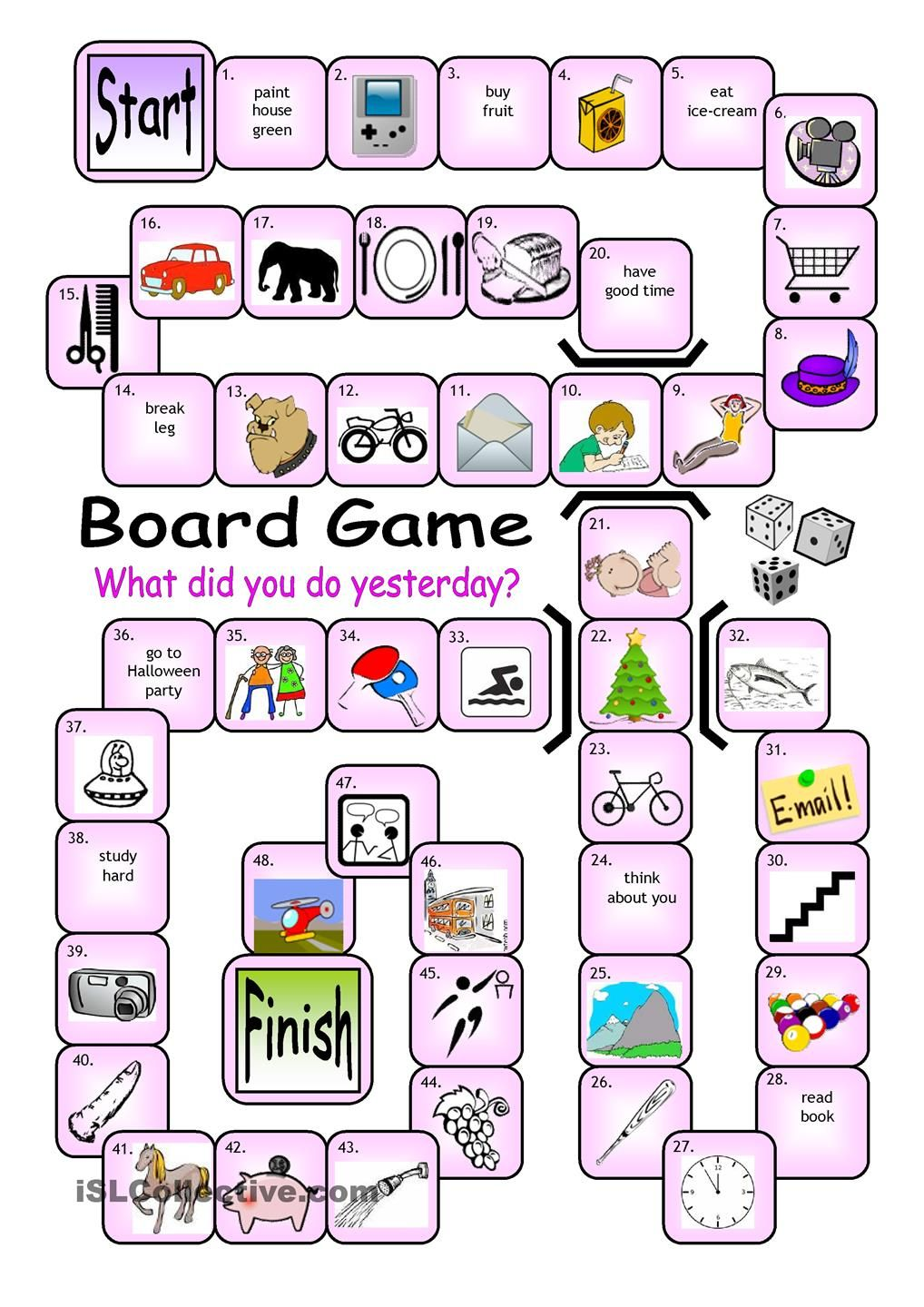 Board Game What Did You Do Yesterday Esl Board Games Board Games