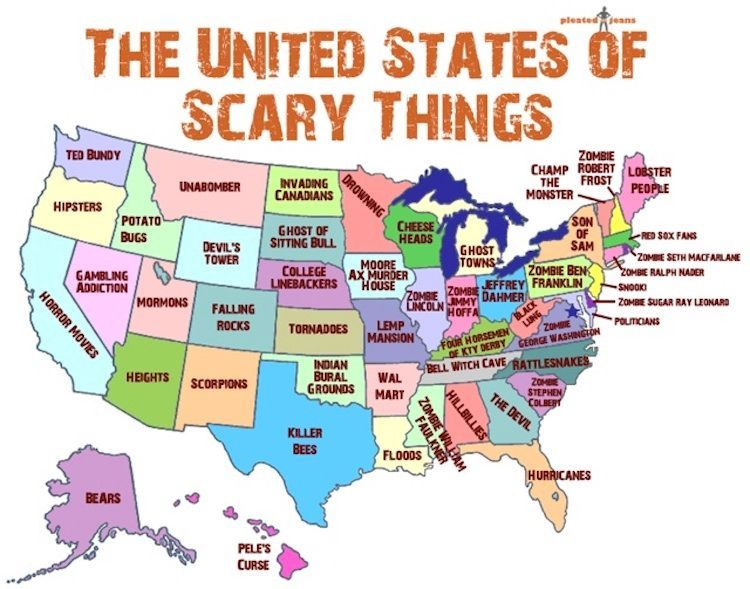 Show Us Map With All States.A Map United States That Shows Scariest Thing In Each State