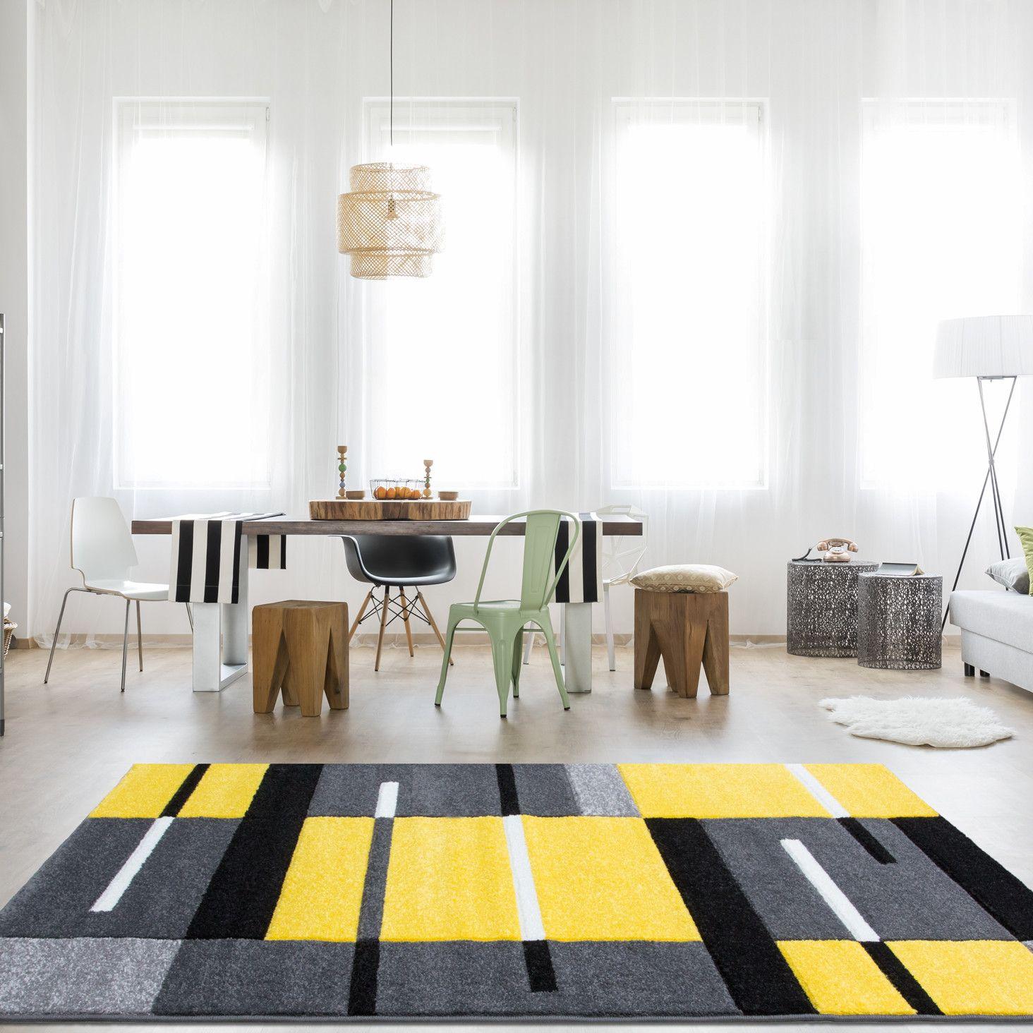yellow  grey contemporary patchwork living room rug  rio