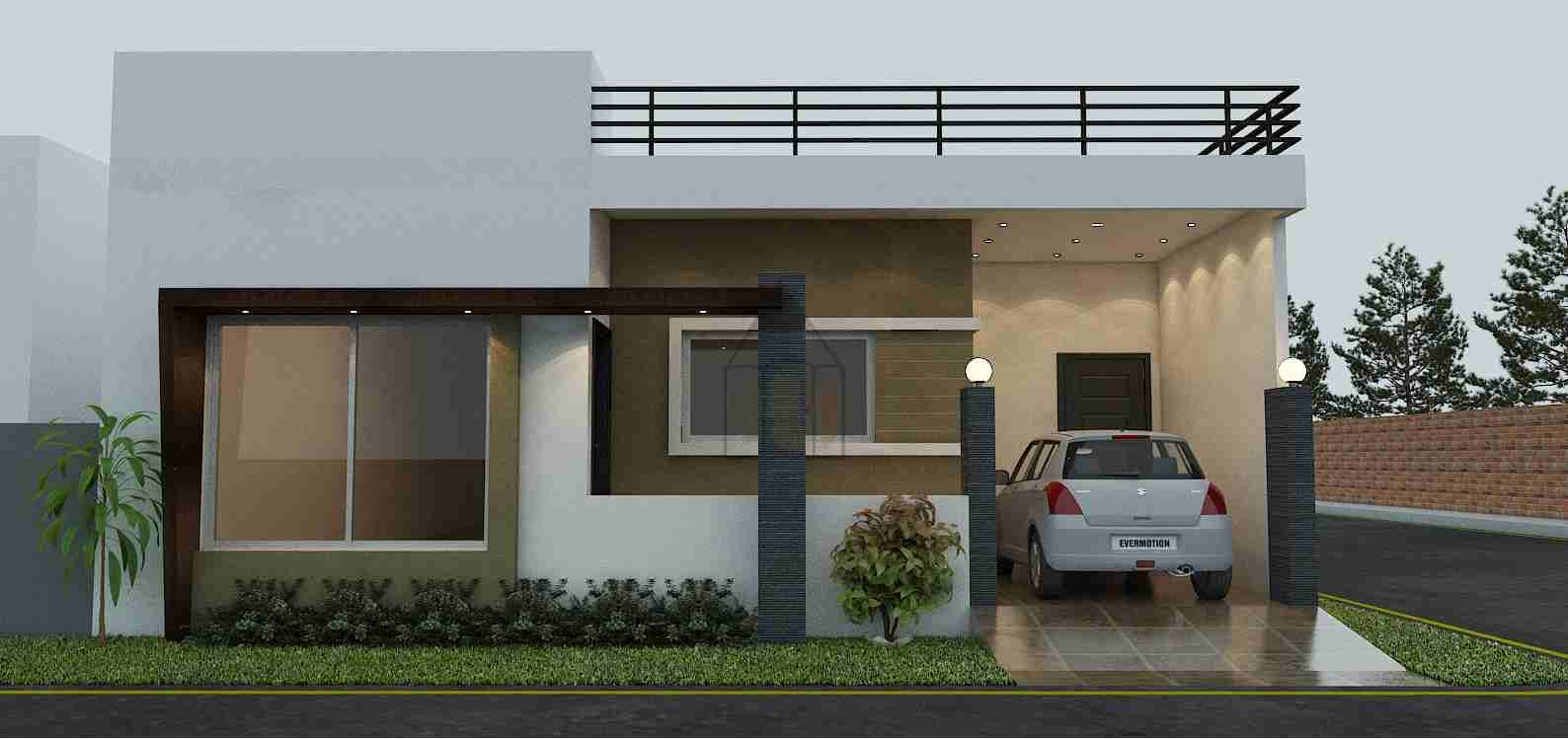 Single Floor Bungalow Elevation : Bungalow style design of a house having dimensions