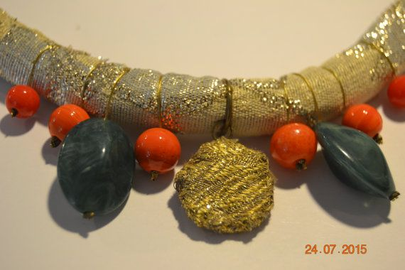 Fabric handmade necklace, African , tribal, natural, jewelry. gold fabric, orange and green beads