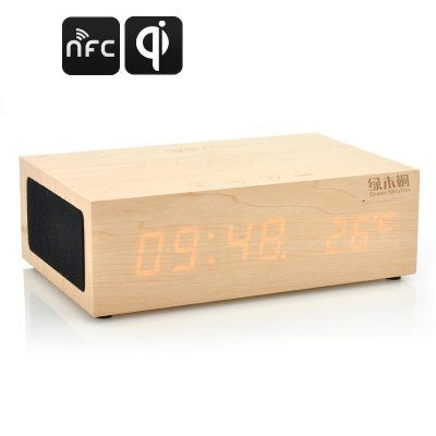 QiBox Wireless Qi Charging Wooden LED Clock - The all-new design Eco-friendly wooden LED Clock uses wireless Qi charging and has Bluetooth Speakers, Support NFC and a Thermometer Function....