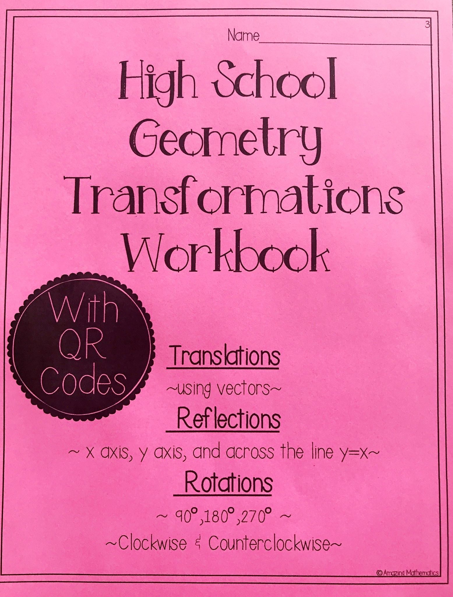 Hs geometry transformations workbook translations rotations this 10 page workbook has 18 problems to strengths students skills on translations rotations ibookread ePUb