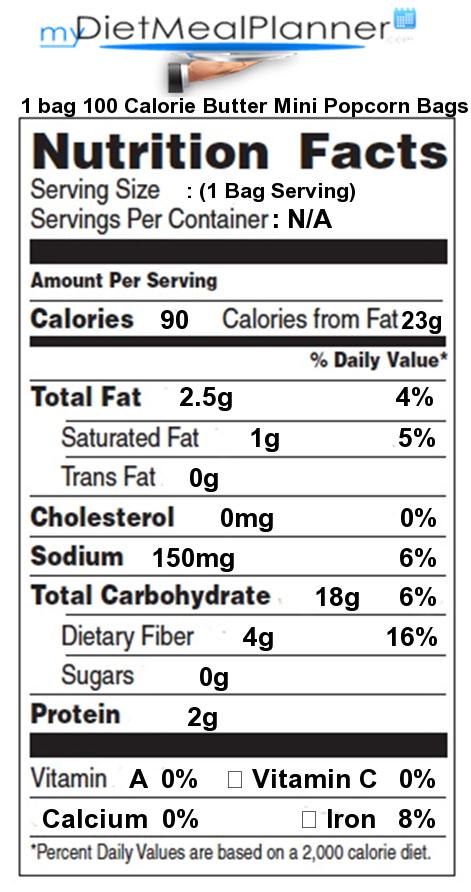 1 Bag 100 Calorie Er Mini Popcorn Bags