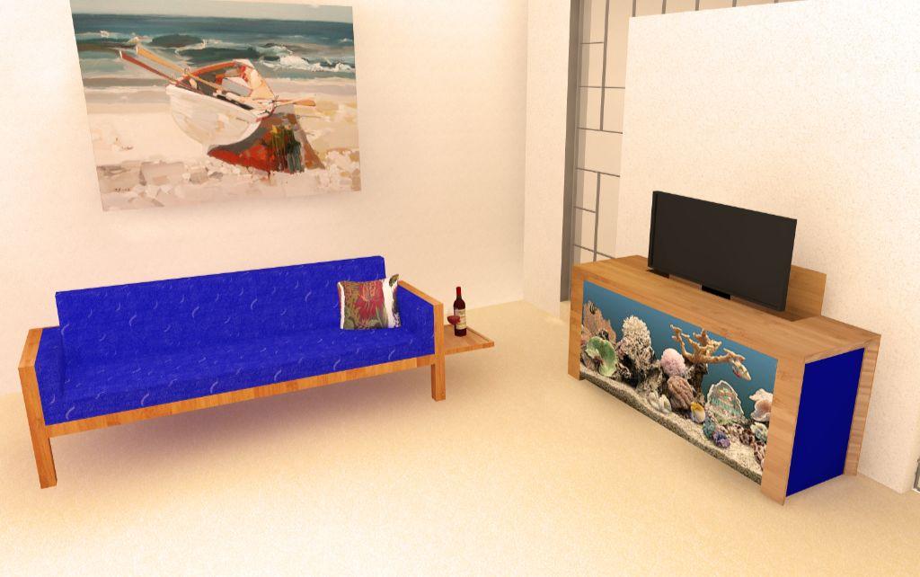 Grand Arc Kast Met Aquarium En Flatscreen Aan Televisielift