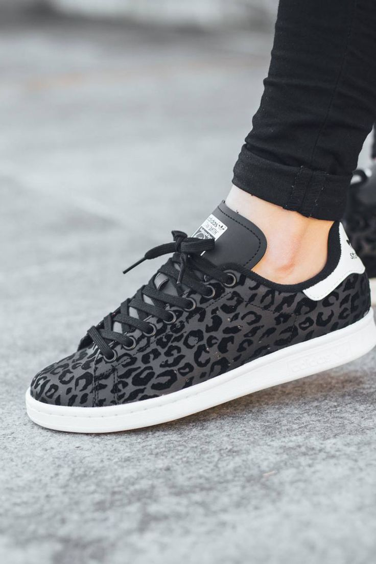 new styles bc49a d0246 adidas Originals Stan Smith  Black Leopard Leopard Print Trainers, Leopard  Sneakers, Women s Shoes