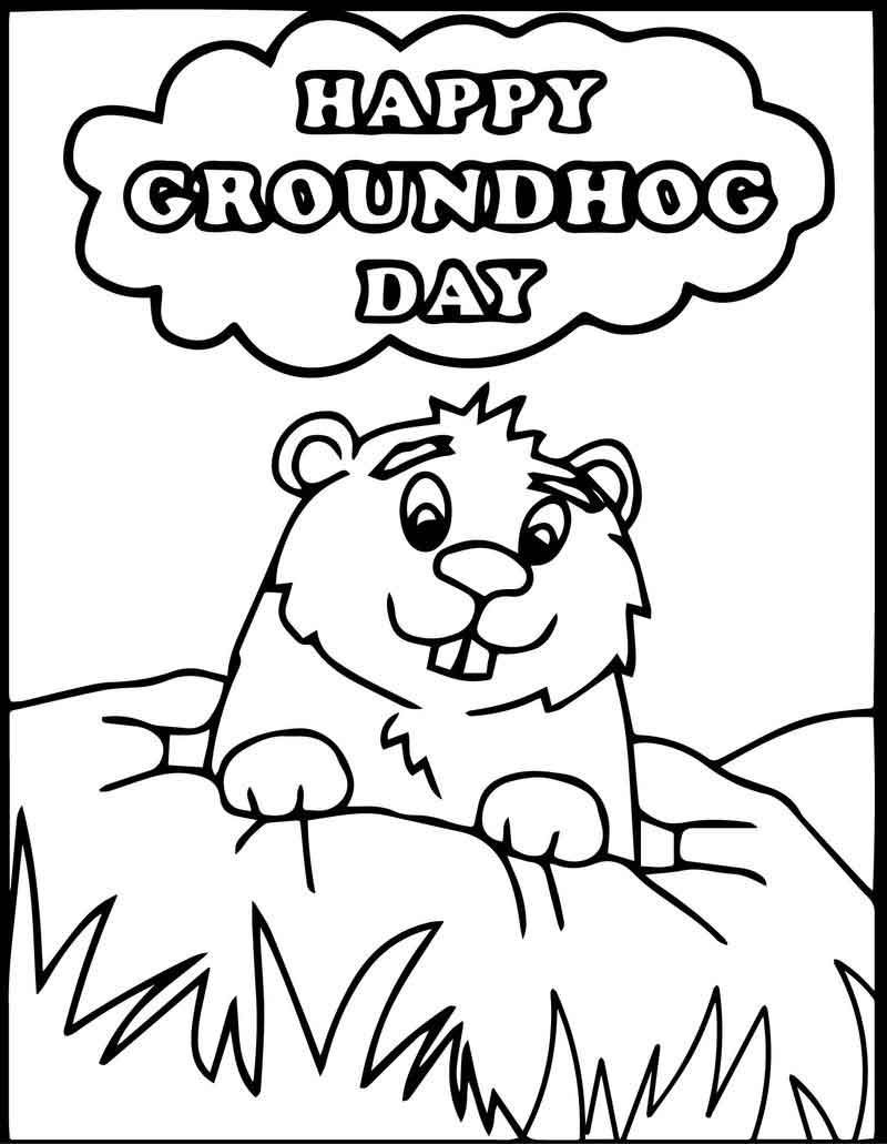 Happy Groundhog Day Coloring Page Happy Groundhog Day Groundhog Day Coloring Pages