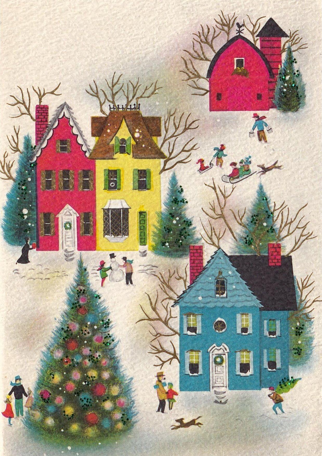 Vintage Greeting Card Christmas Landscape Houses Glitter