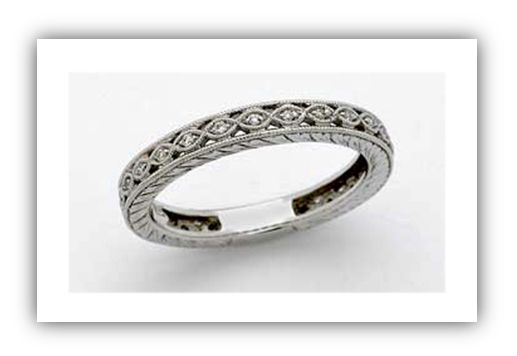 This Edwardian Wedding Band Has A Uniform Repeion Pattern And Slant Line Detailing On The Side