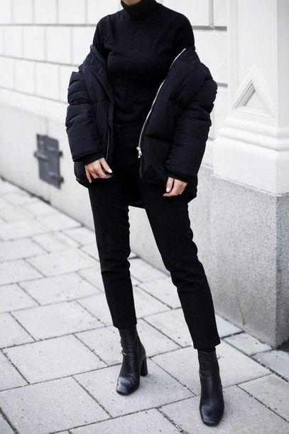 9a7cb6890869 Jacket  tumblr black down puffer black turtleneck top black top turtleneck pants  black pants cropped