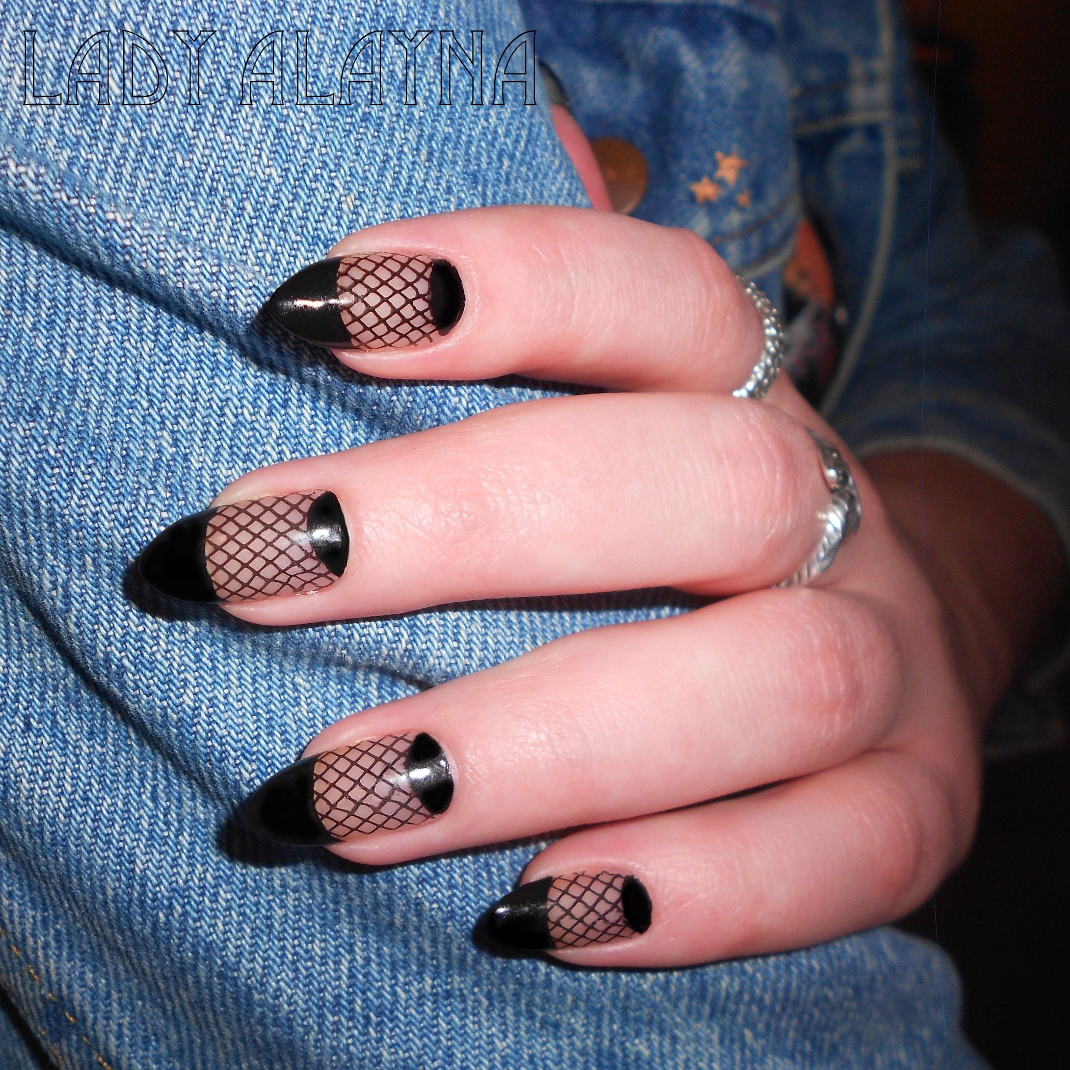 Black net with french tip and half moon on natural almond nails ...