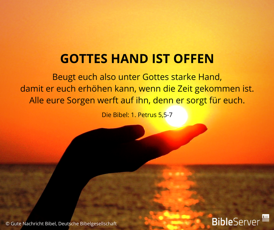 gottes hand ist offen lies den bibelvers im kontext auf. Black Bedroom Furniture Sets. Home Design Ideas