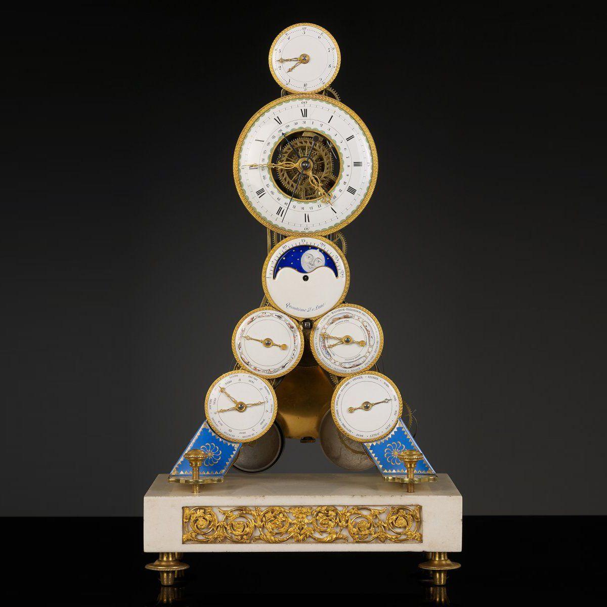 Calendrier Gregorien Et Republicain.C1793 1805 Pendule Squelette Avec Calendrier Gregorien Et