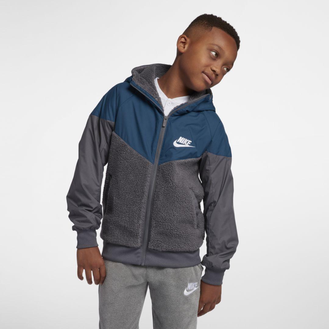 568208ff419c15 Nike Sportswear Windrunner Big Kids  Sherpa Jacket Size XL (Dark Grey)