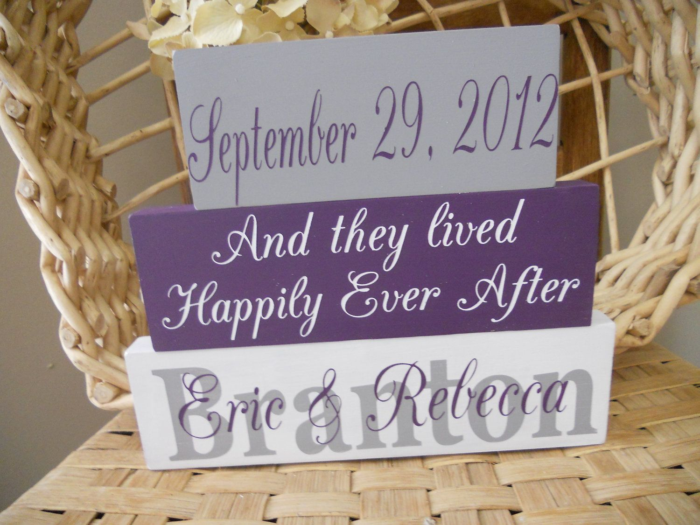 wedding signs..wedding blocks..personalized blocks..established date..grey purple eggplant signs...