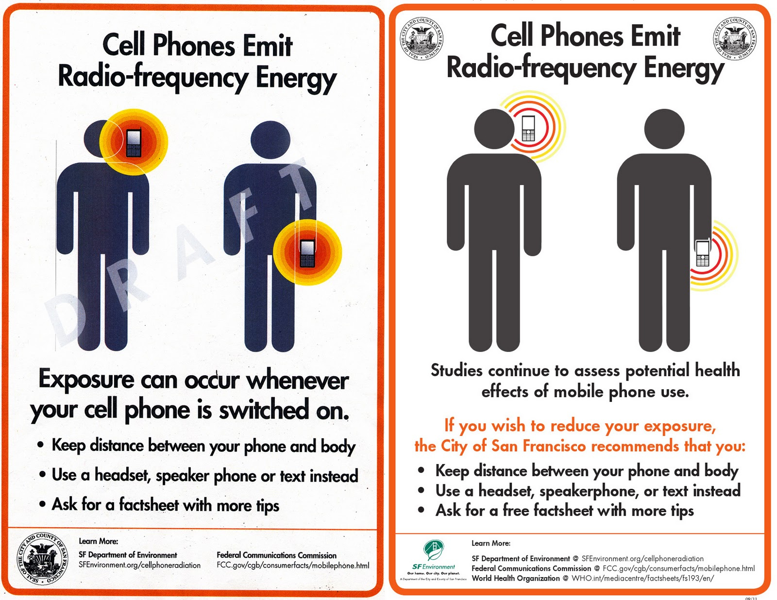 Cell Phone Radiation warning posters Cell phone